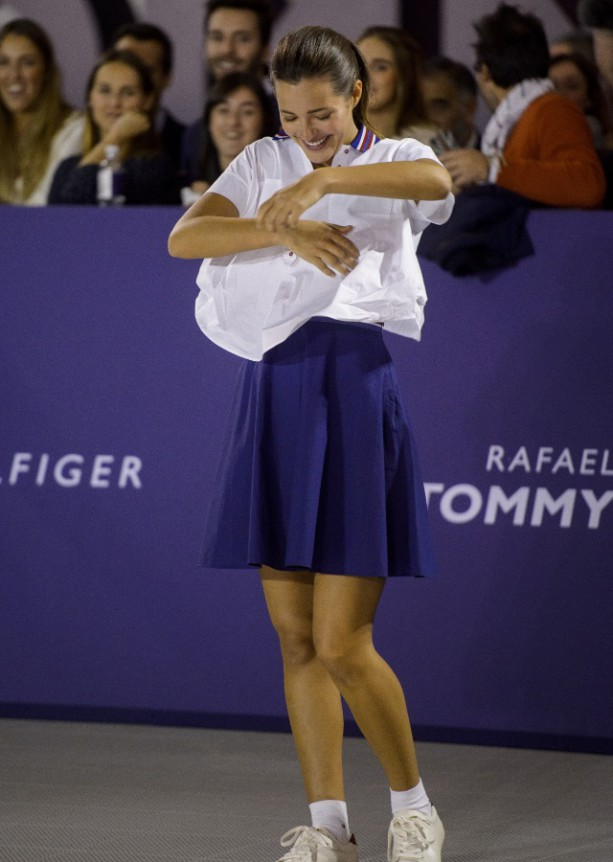 Rafael Nadal plays STRIP tennis with Tommy Hilfiger models