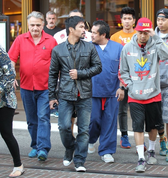 Manny Pacquiao Leaves The Grove with His Entourage
