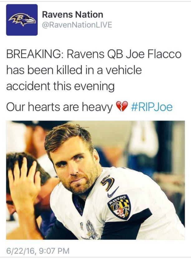 Joe Flacco Responds to Death Hoax