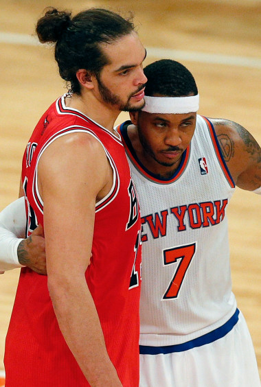 Carmelo and Shirtless Joakim Noah Showing Chemistry in the Gym