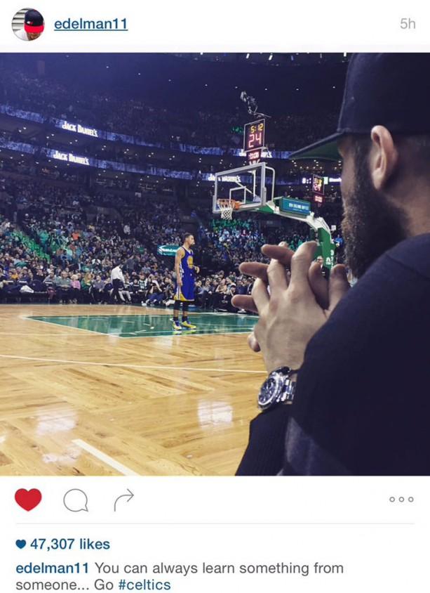 Julian Edelman Court Side For Celtics Warriors