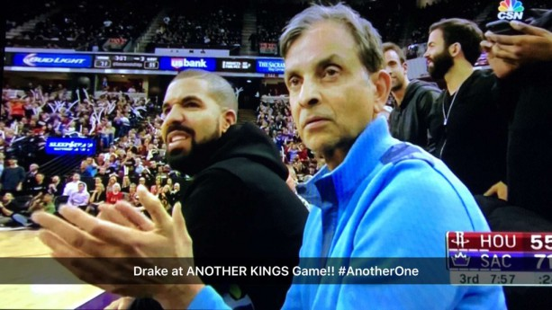 Drake Makes Faces at the Kings Game