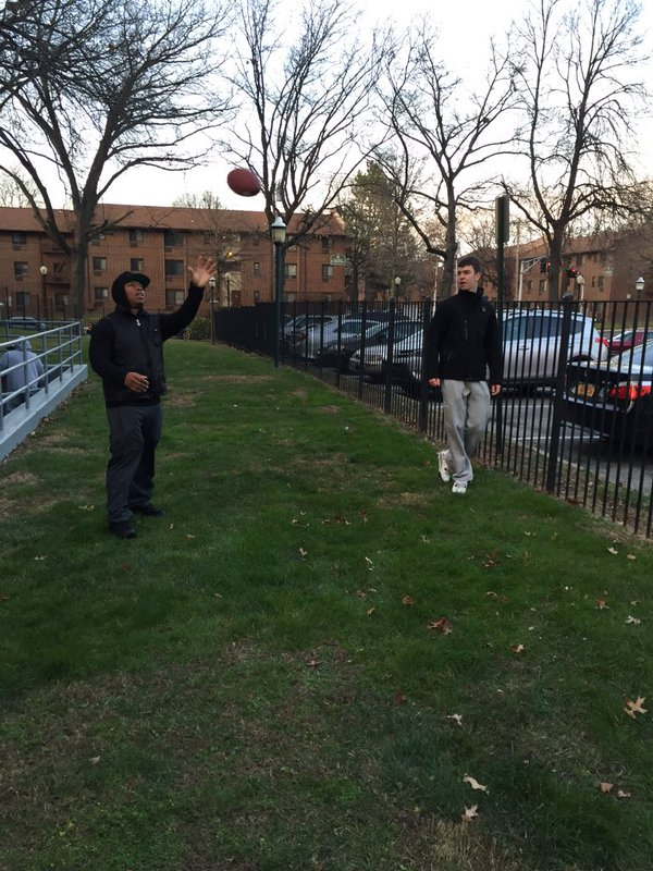 Ray Rice Playing Catch At Party
