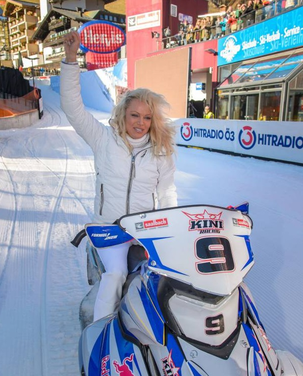 Pam Anderson Knee Deep into Snow Sports