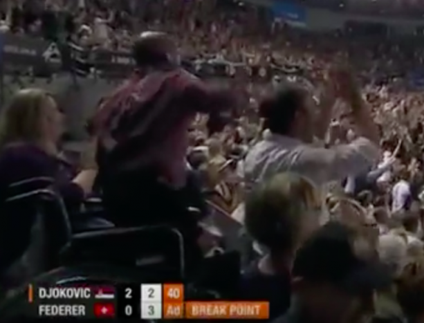 Man gets up out of his wheelchair after an amazing Federer shot