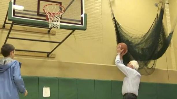 Bernie Sanders Shoots Hoops to Relax