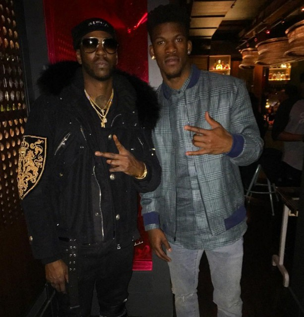 2 Chainz and Jimmy Buckets Flashing the Gang Signs