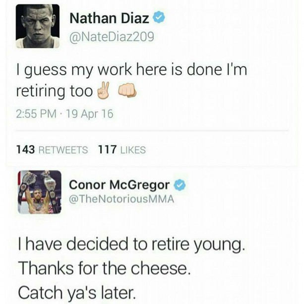 Interweb Goes Ham As Conor McGregor & Nate Diaz Both Retire