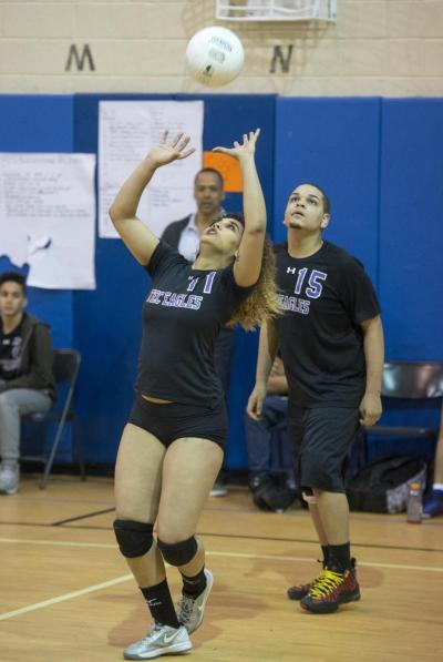 High School Volleyball Girl Plays on the Men's Team