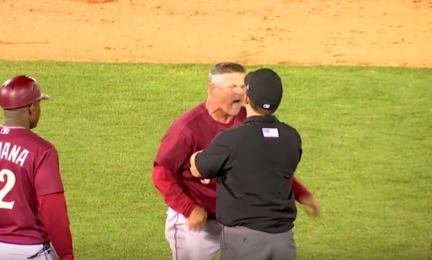 Minor league manager Has a colossal meltdown