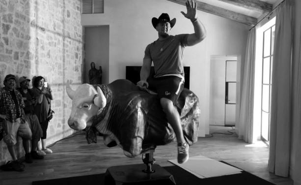JJ Watt Riding the Bull with Brock Osweiler
