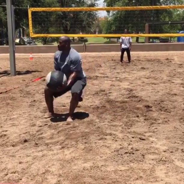 James Harrison Playing Medicine Ball Volleyball