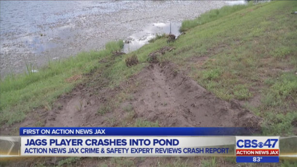 Denard Robinson explains how his car ended up in a pond