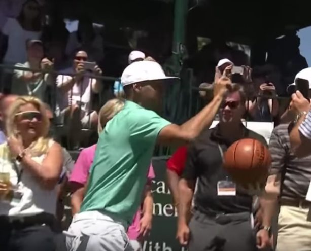 Steph Curry blocks Justin Timberlake's basketball shot