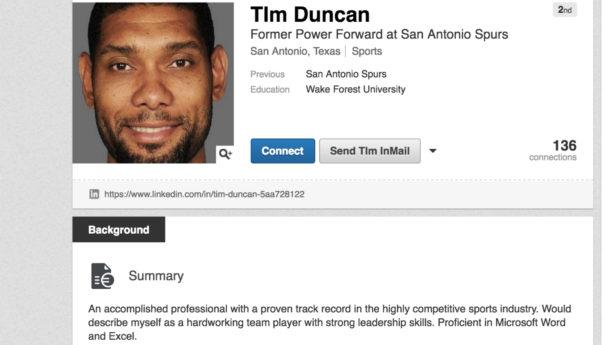 You gotta love Tim Duncan's LinkedIn page